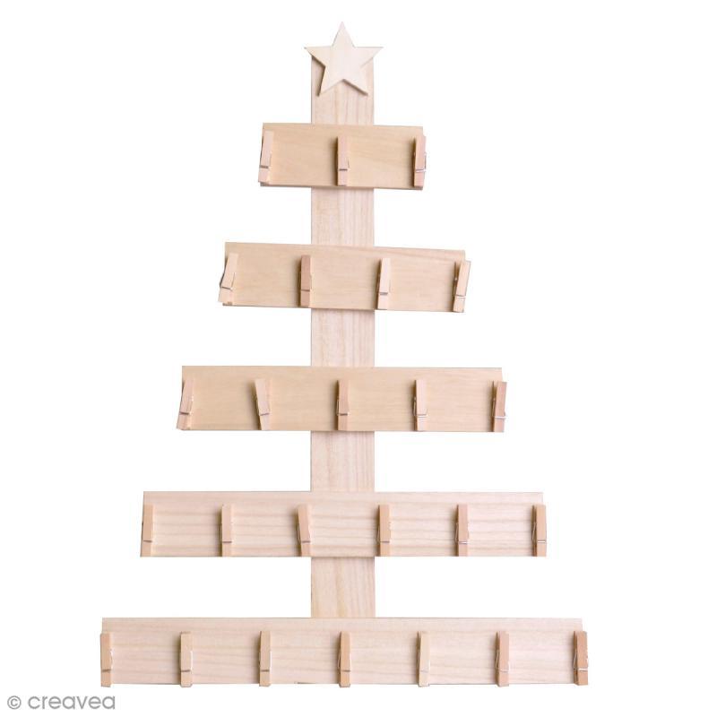 Sapin pinces pour calendrier de l 39 avent bois 50 x 36 cm sapin suspendre creavea - Support calendrier de l avent ...