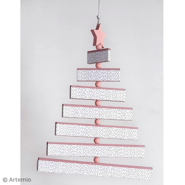 Sapin articulé à suspendre - Bois - 7 rectangles de bois, 1 étoile et 7 perles en bois - Photo n°2