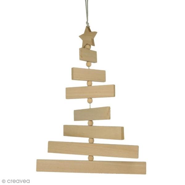 Sapin articulé à suspendre - Bois - 7 rectangles de bois, 1 étoile et 7 perles en bois - Photo n°1