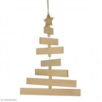 Sapin articulé à suspendre - Bois - 7 rectangles de bois, 1 étoile et 7 perles en bois