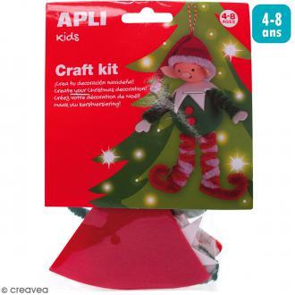 Kit créatif Personnage en mousse et fil chenille - Lutin de Noël
