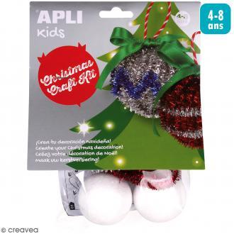 Kit créatif Décorations en fil chenille - Boules de Noël