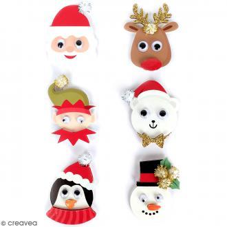 Stickers 3D Personnage de Noël - 6 autocollants