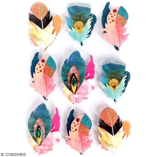 Stickers 3D Plume - 9 autocollants - Photo n°1