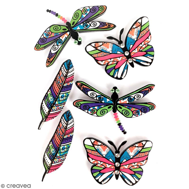 stickers 3d papillon plume libellule 6 autocollants stickers fantaisie creavea. Black Bedroom Furniture Sets. Home Design Ideas
