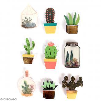 Stickers 3D Cactus - 9 autocollants