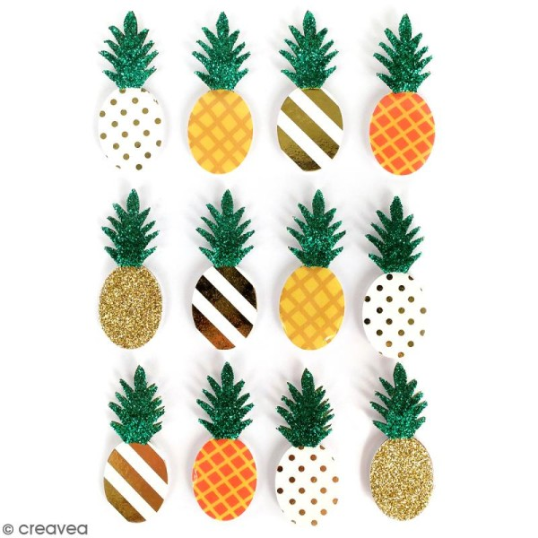 Stickers 3D Ananas - 12 autocollants - Photo n°1