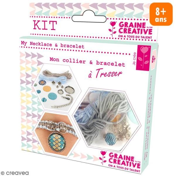 Kit pour création de bijoux Océan - Collier et bracelet à tresser - Photo n°1