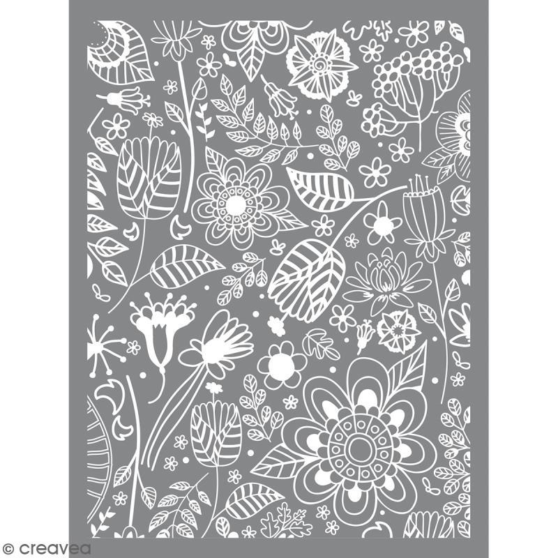 Pochoir pour impression de motifs sur pâte polymère - Nature - 11,4 x 15,3 cm - Photo n°1