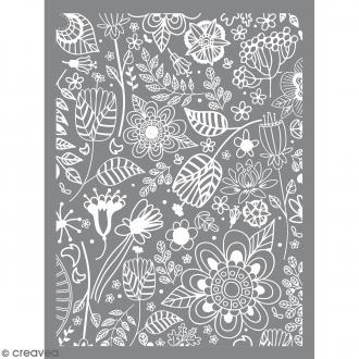 Pochoir pour impression de motifs sur pâte polymère - Nature - 11,4 x 15,3 cm