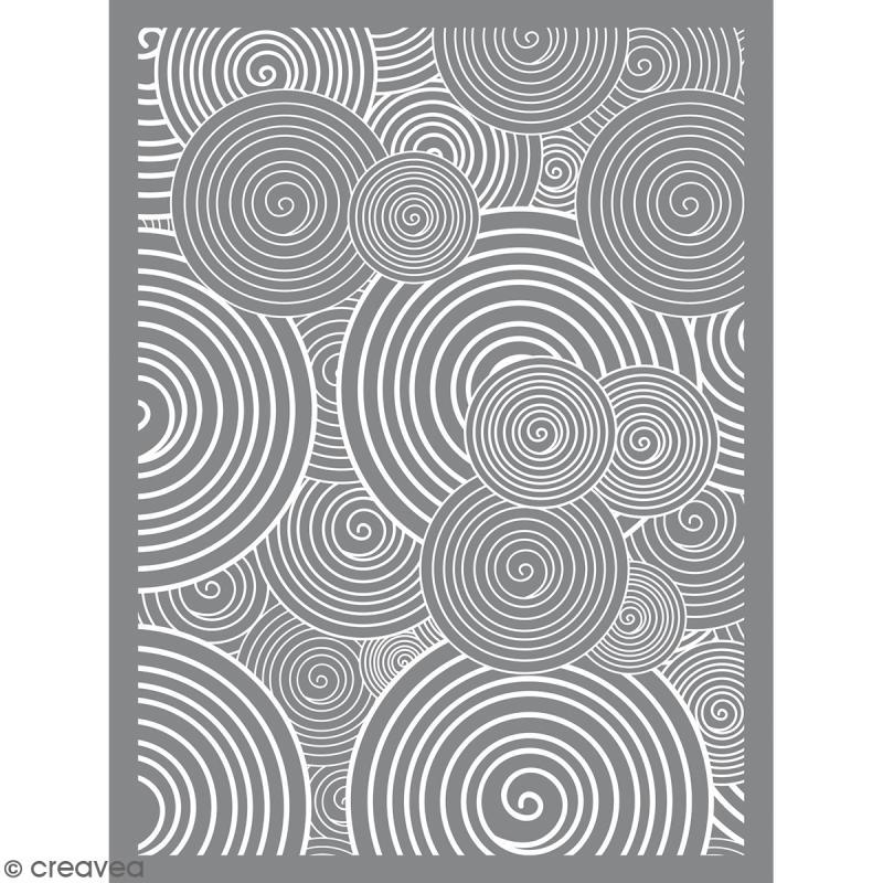Pochoir pour impression de motifs sur pâte polymère - Spirale - 11,4 x 15,3 cm - Photo n°1