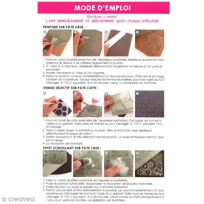 Pochoir pour impression de motifs sur pâte polymère - Japon - 11,4 x 15,3 cm - Photo n°2