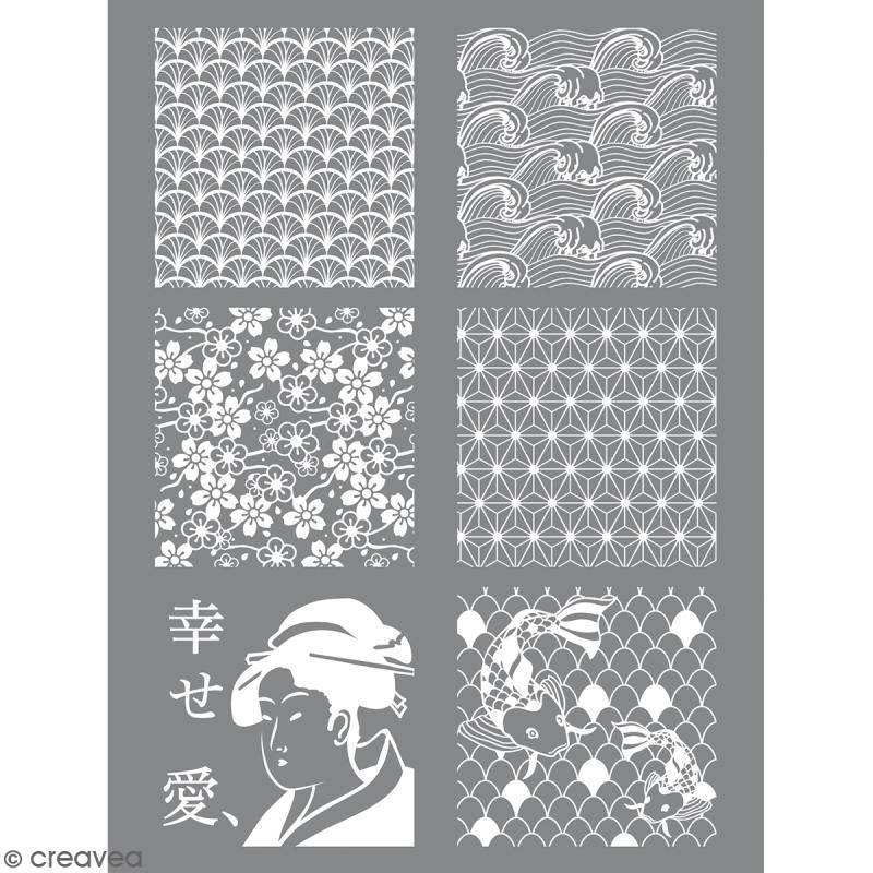 Pochoir pour impression de motifs sur pâte polymère - Japon - 11,4 x 15,3 cm - Photo n°1
