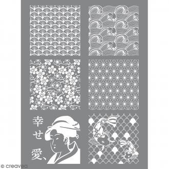 Pochoir pour impression de motifs sur pâte polymère - Japon - 11,4 x 15,3 cm