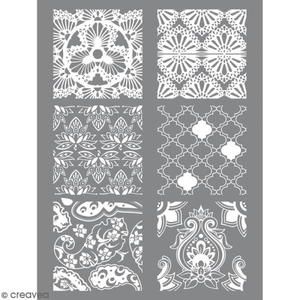 Pochoir pour impression de motifs sur pâte polymère - Hindou - 11,4 x 15,3 cm - Photo n°1
