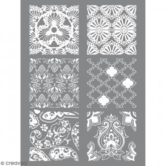 Pochoir pour impression de motifs sur pâte polymère - Hindou - 11,4 x 15,3 cm