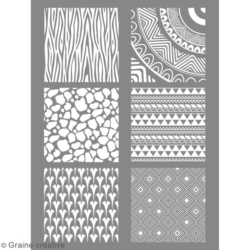 Pochoir pour impression de motifs sur pâte polymère - Ethnique - 11,4 x 15,3 cm - Photo n°1