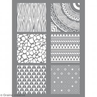 Pochoir pour impression de motifs sur pâte polymère - Ethnique - 11,4 x 15,3 cm