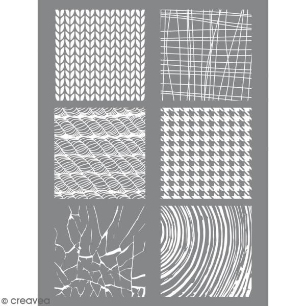 Pochoir pour impression de motifs sur pâte polymère - Matière - 11,4 x 15,3 cm - Photo n°1