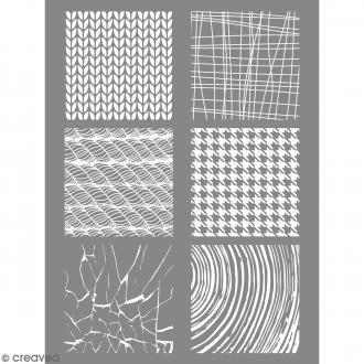 Pochoir pour impression de motifs sur pâte polymère - Matière - 11,4 x 15,3 cm
