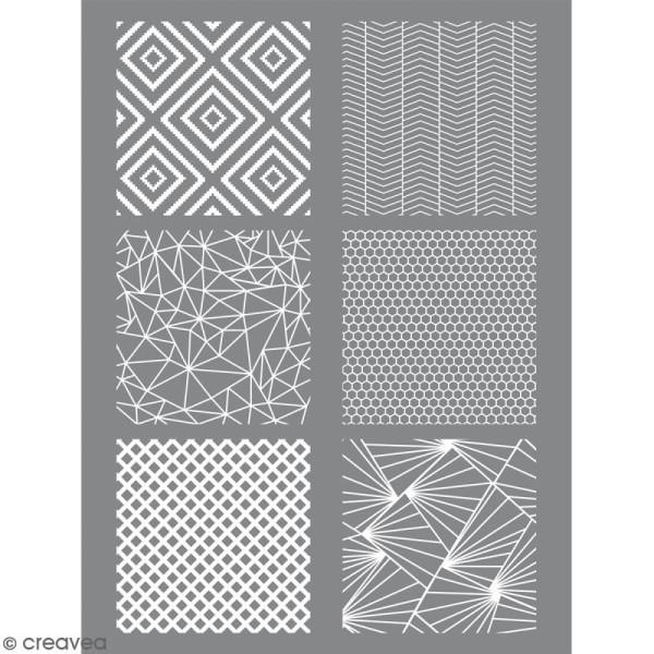 Pochoir pour impression de motifs sur pâte polymère - Géométrique - 11,4 x 15,3 cm - Photo n°1