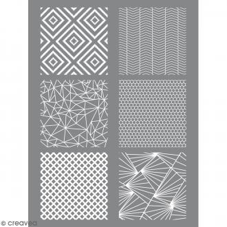 Pochoir pour impression de motifs sur pâte polymère - Géométrique - 11,4 x 15,3 cm