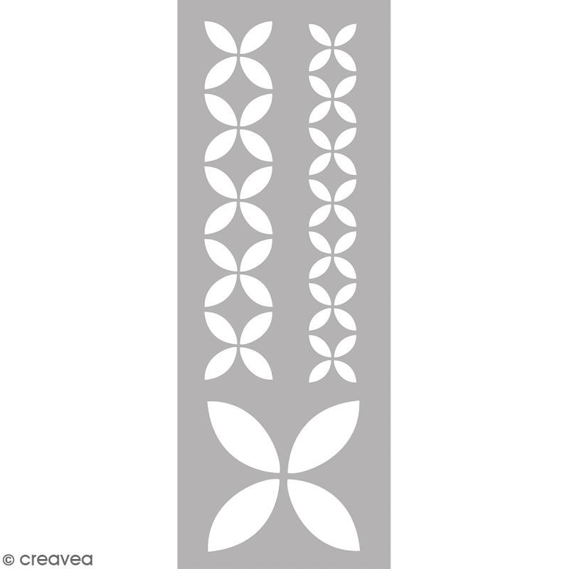Pochoir home deco g om trique floral 15 x 40 cm for Pochoir geometrique
