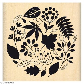 Tampon Bois Boule d'automne - 6 x 6 cm