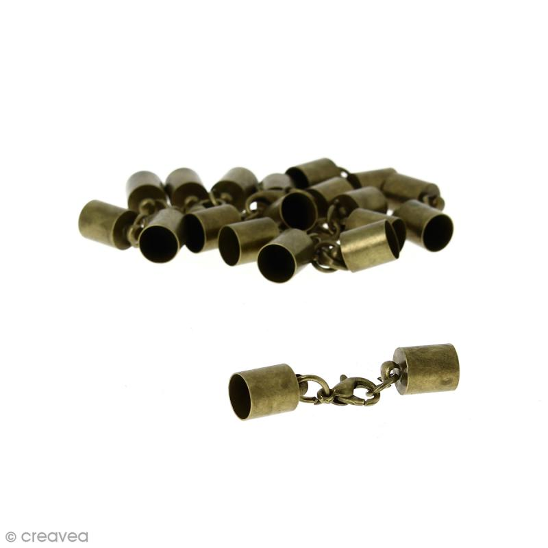 Fermoir embout - Pour cordon 7 mm - Bronze - 10 pcs - Photo n°1