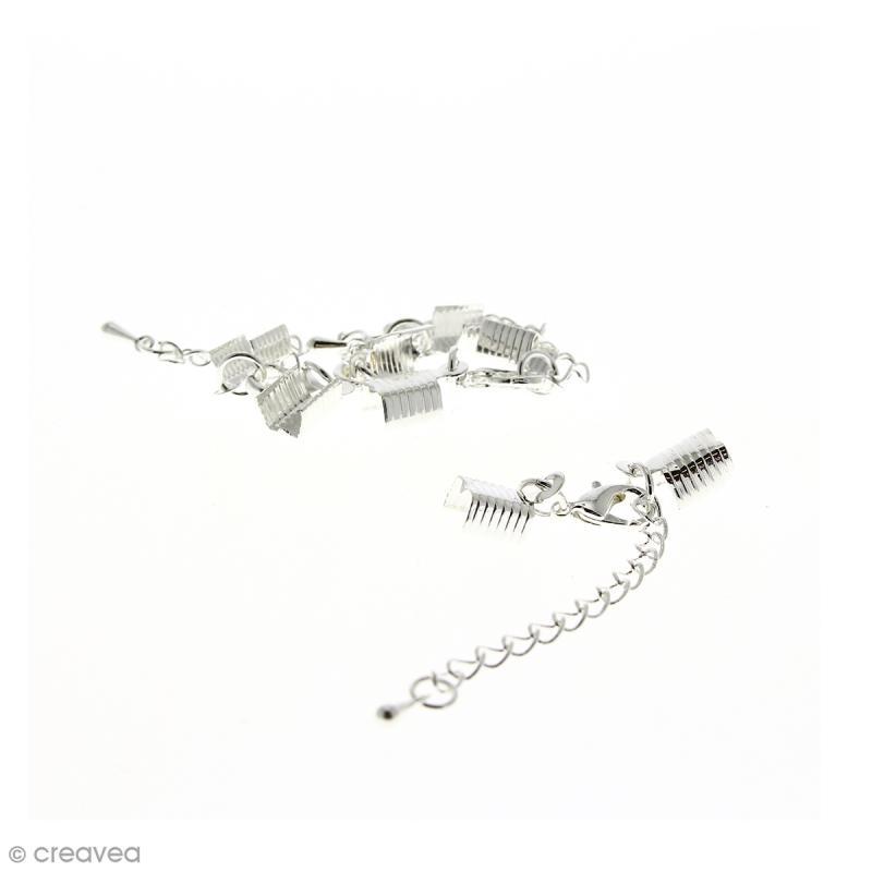 Fermoir pince-lacets avec chaînette - Pour cordon 5 mm - Argenté - 4 pcs - Photo n°1