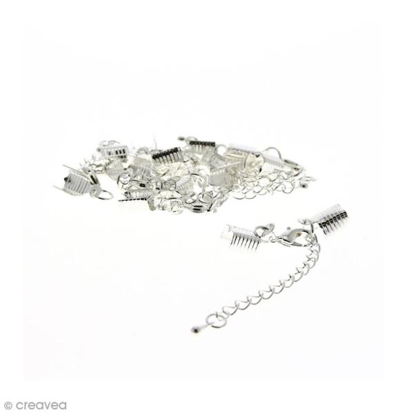 Fermoir pince-lacets avec chaînette - Pour cordon 5 mm - Argenté - 10 pcs - Photo n°1