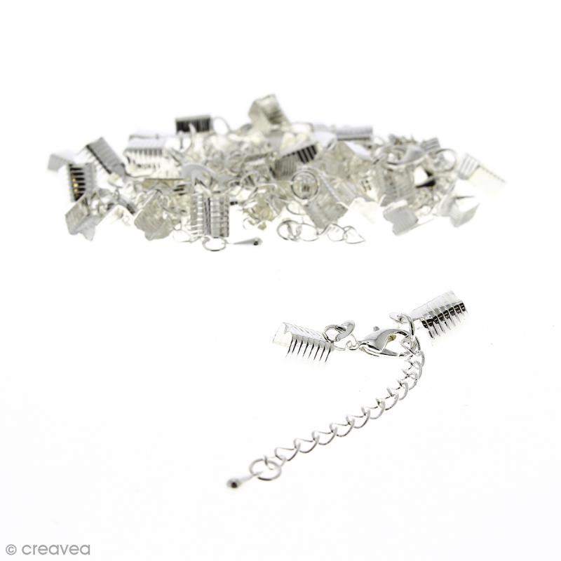 Fermoir pince-lacets avec chaînette - Pour cordon 5 mm - Argenté - 20 pcs - Photo n°1