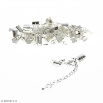 Fermoir pince-lacets avec chaînette - Pour cordon 5 mm - Argenté - 20 pcs