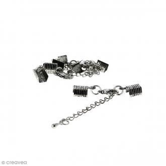 Fermoir pince-lacets avec chaînette - Pour cordon 5 mm - Argenté vieilli - 4 pcs
