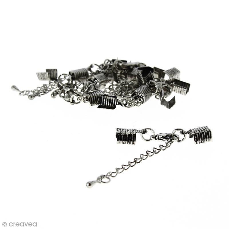 Fermoir pince-lacets avec chaînette - Pour cordon 5 mm - Argenté vieilli - 10 pcs - Photo n°1