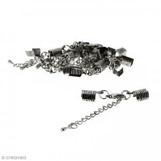 Fermoir pince-lacets avec chaînette - Pour cordon 5 mm - Argenté vieilli - 10 pcs