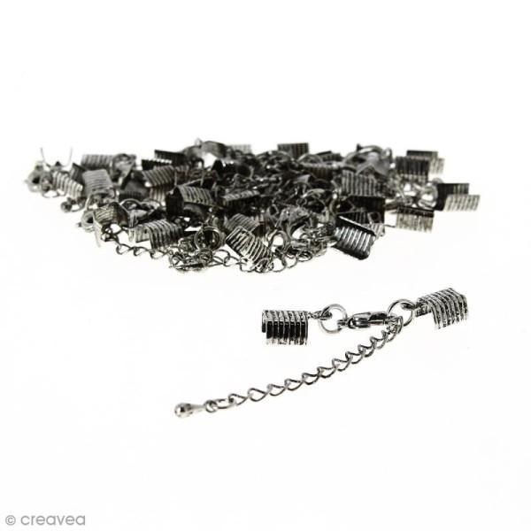Fermoir pince-lacets avec chaînette - Pour cordon 5 mm - Argenté vieilli - 20 pcs - Photo n°1