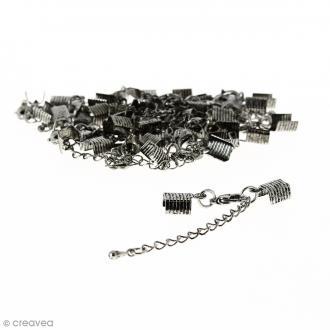 Fermoir pince-lacets avec chaînette - Pour cordon 5 mm - Argenté vieilli - 20 pcs