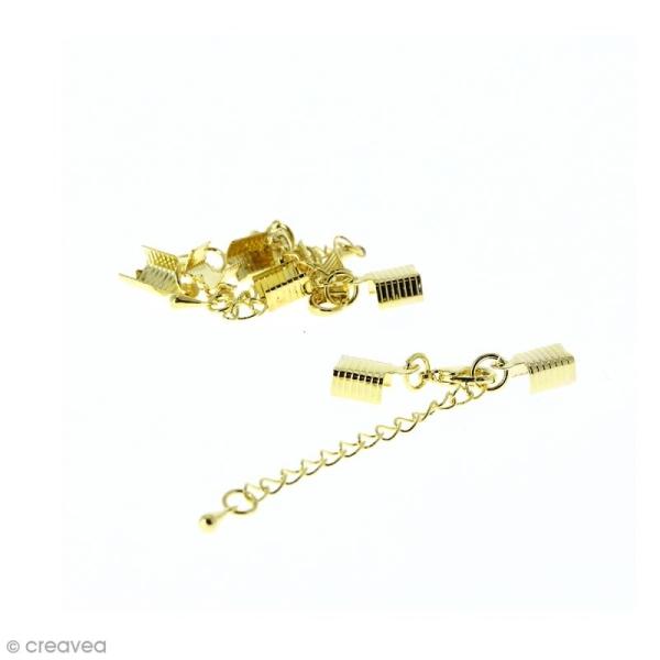 Fermoir pince-lacets avec chaînette - Pour cordon 5 mm - Doré - 4 pcs - Photo n°1