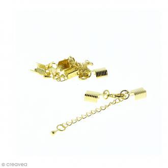 Fermoir pince-lacets avec chaînette - Pour cordon 5 mm - Doré - 4 pcs