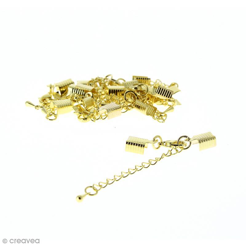 Fermoir pince-lacets avec chaînette - Pour cordon 5 mm - Doré - 10 pcs - Photo n°1