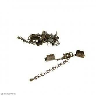 Fermoir pince-lacets avec chaînette - Pour cordon 5 mm - Bronze - 4 pcs