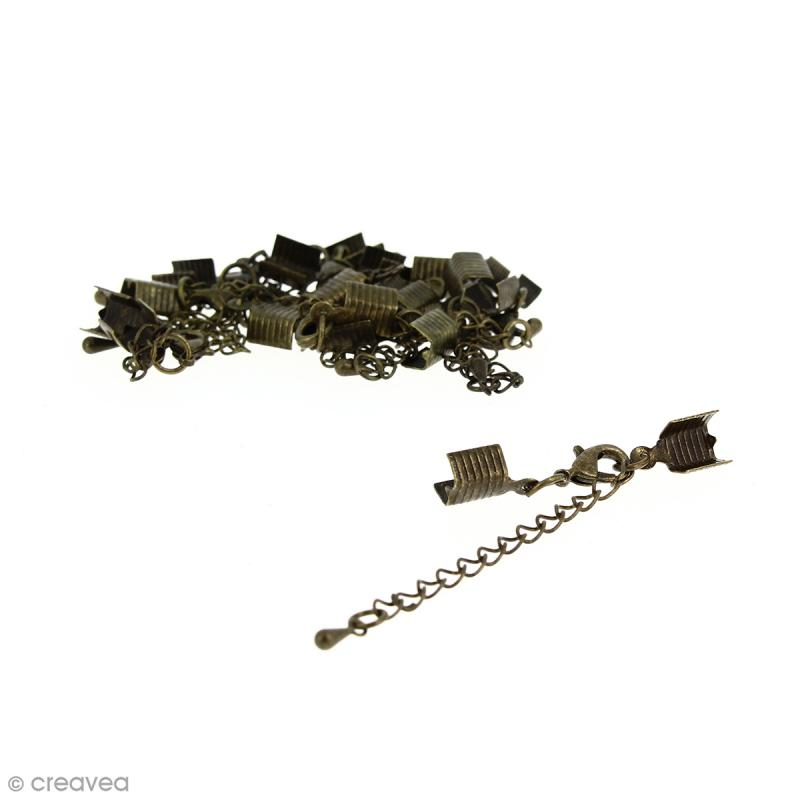 Fermoir pince-lacets avec chaînette - Pour cordon 5 mm - Bronze - 10 pcs - Photo n°1