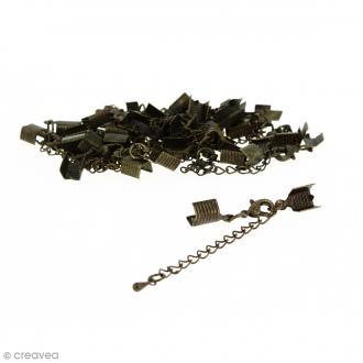 Fermoir pince-lacets avec chaînette - Pour cordon 5 mm - Bronze - 20 pcs