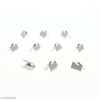 Fermoir ruban - Argenté - 10 mm - 10 pcs