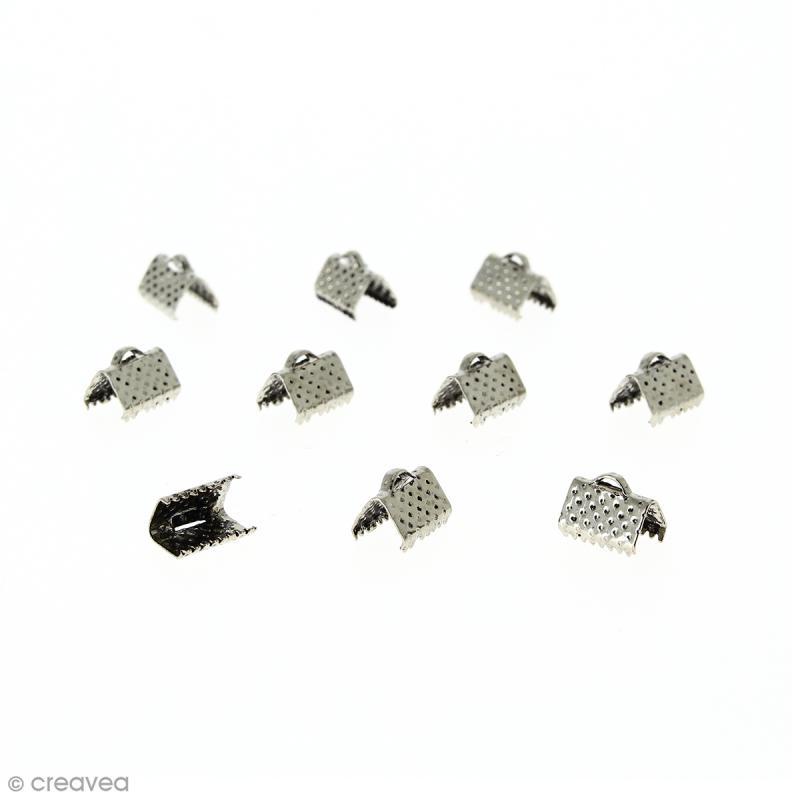 Fermoir ruban - Argenté vieilli - 10 mm - 10 pcs - Photo n°1
