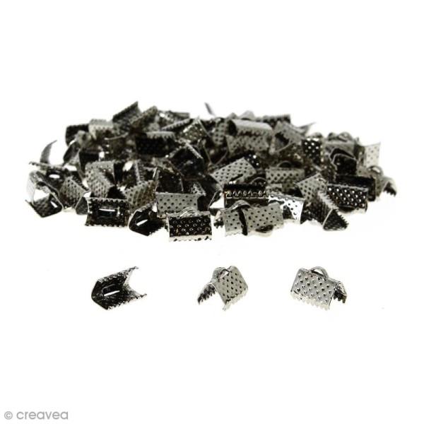 Fermoir ruban - Argenté vieilli - 10 mm - 100 pcs - Photo n°1