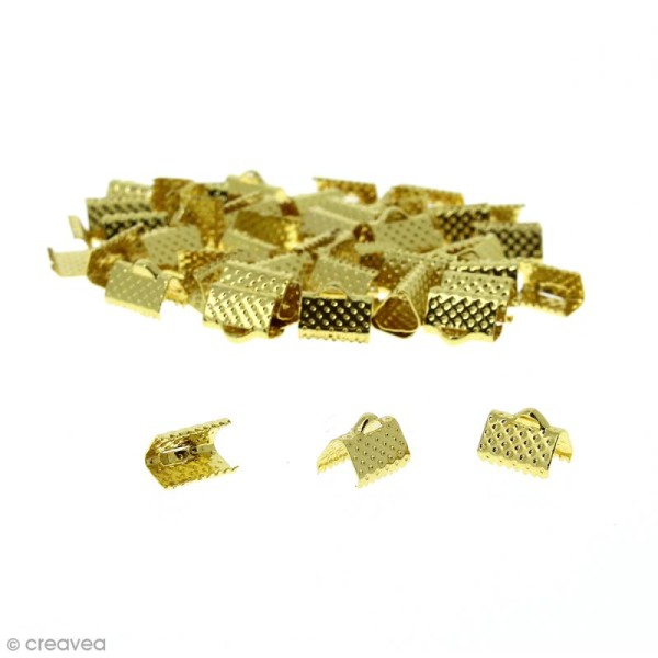 Fermoir ruban - Doré - 10 mm - 50 pcs - Photo n°1