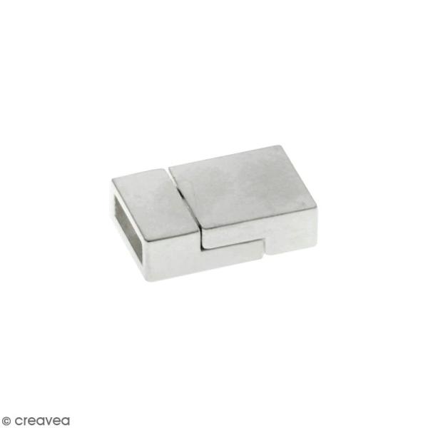 Fermoir aimanté - rectangle - 2 x 1,3 cm - Argenté - 1 pce - Photo n°1