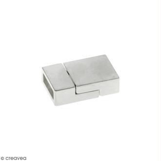 Fermoir aimanté - rectangle - 2 x 1,3 cm - Argenté - 1 pce